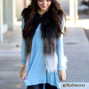 NEW On Trend  Piko 1988 Faux Fur Ombre` Vest